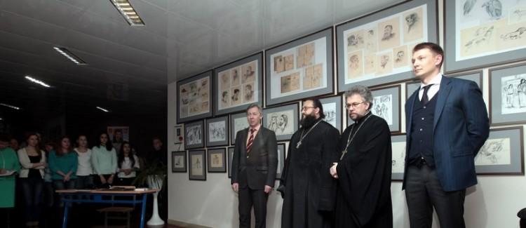Открытие выставки рисунков прот. А. Меня в Дубне